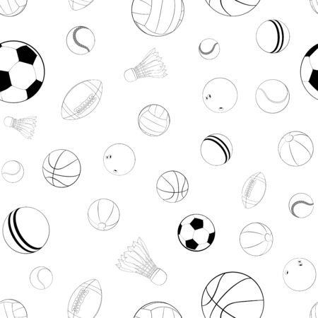 Sports balls vector seamless pattern. Flat vector illustration for web design, logo, icon, app, UI. Isolated stock illustration on white. Ilustracja