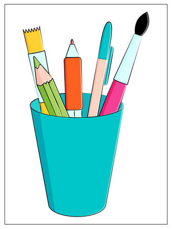 Set of multicolored school supplies. Stationery in a glass. Vector flat illustration with pencils, pen and brushes for drawing
