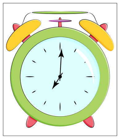 Vector Silhouette of classic clock Icon. Flat vector illustration of green Alarm clock