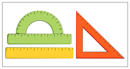 Vector flat illustration of ruler, straightedge, triangle ruler, protractor. School supplies. Measurement tool. Vector line icon. For web, icon, app, UI. Isolated on white. Vetores