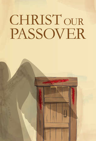 Blood on the doorposts Christ our Passover vertical Easter illustration Blood on the doorposts. The shadow of a passing angel of the destroyer. Greeting card, congratulation, advertisement banner with assignment. Copy Space.