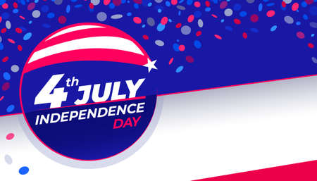 July 4th Independence Day - Congratulatory design with national flag colors and confetti Horizontal Copy space. Vector stock image.