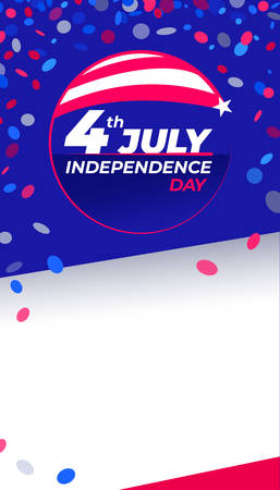 July 4th Independence Day - Congratulatory design with national flag colors and confetti Vertical Copy space. Vector stock image.