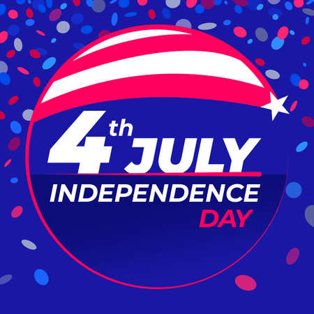 July 4th Independence Day - Congratulatory design with national flag colors and confetti.