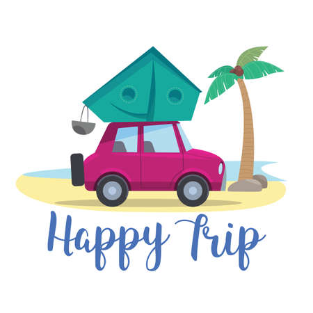 Traveling by car with a tent on a wildlife shore with a palm tree. Vector stock illustration symbol, emblem.