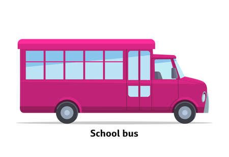 School bus side view. Vector stock flat illustration. Raspberry cartoon, toy car. Simplified style for design and animation.