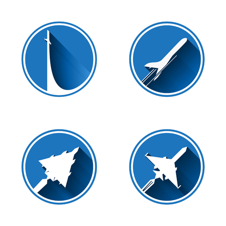 air liner: Flat Aviation Icon Set . Vector images are isolated on a white background. Illustration
