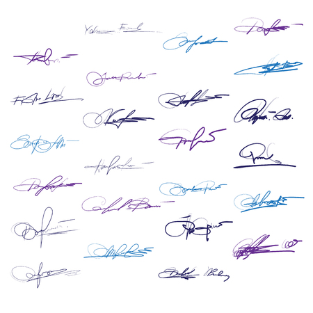 signatures: Signatures set of vector. Hand written ink pen for documents.
