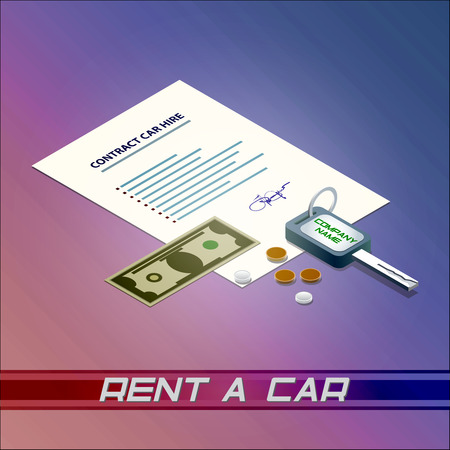 car bills: Rent a car, money, rental automobile, ignition key, cash, contract, signature, bill, hire