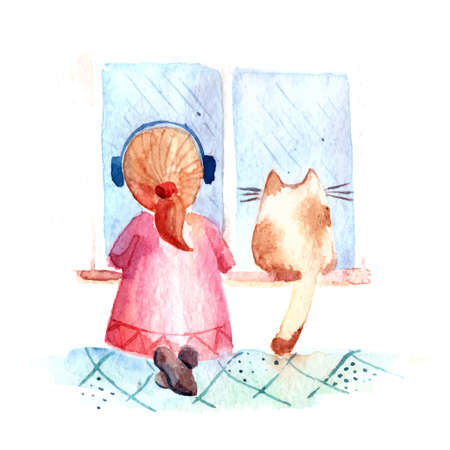 Hand drawn watercolor painting of autumn Girl with cat at rainy day listenig to music. Vettoriali