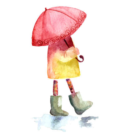 Hand drawn watercolor painting of autumn Girl with red umbrella and green boots. Illustration