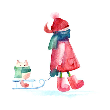Hand drawn watercolor painting of Winter Girl with cat. Illustration