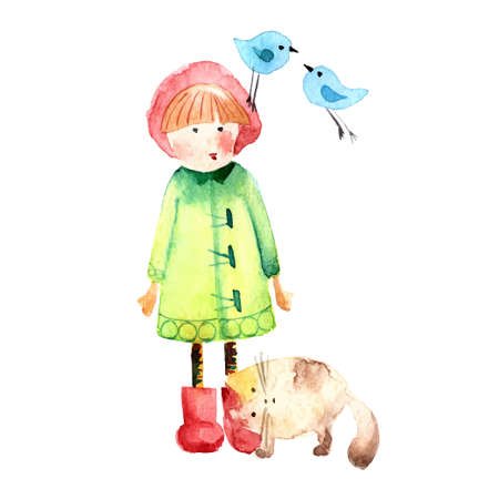 Hand drawn watercolor painting of Girl with cat and birds. Vettoriali