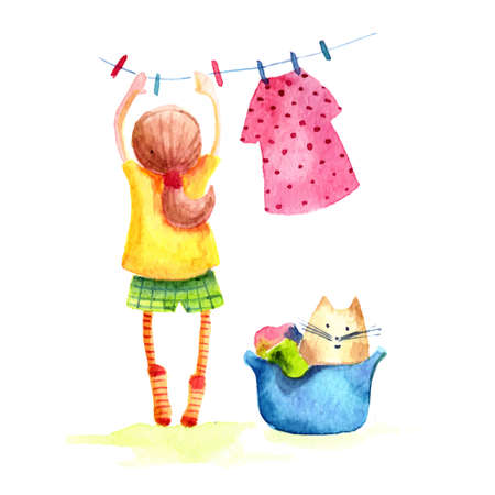 Hand drawn watercolor painting of Girl with cat hanging laundry.