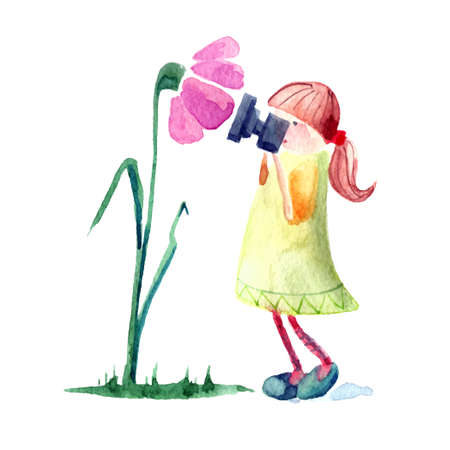 watercolour painting: Hand drawn watercolor painting of Girl with photocamera and flower.
