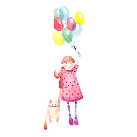 kitty: Hand drawn watercolor painting of Girl with baloons and cat.