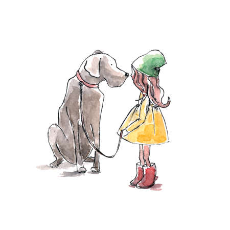 Hand drawn watercolor painting of Girl with big dog, friendship.