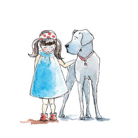 dog leash: Hand drawn watercolor painting of Girl with big dog, friendship.