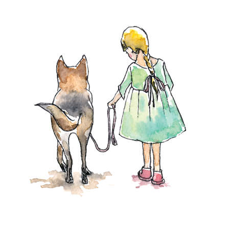 big dog: Hand drawn watercolor painting of Girl with big dog, friendship.