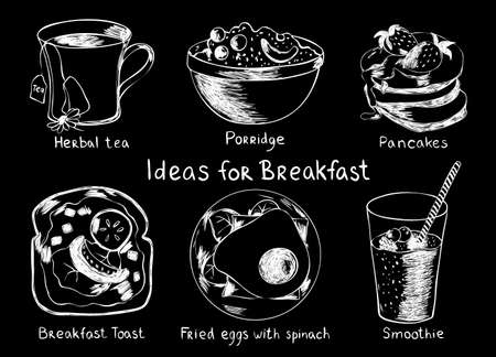 Vector Set of ideas for breakfast. Herbal tea, porridge, pancake, toast, fried eggs and smoothie. Food and drink. Black and white vector illustration Ilustração
