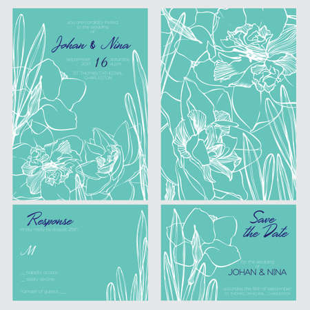 g invitation card suite with romantic White and Mint narcissus flowers Templates. Thank you card, save the date card. Wedding set. RSVP card. Vector outline illustration Illustration
