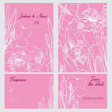 Wedding invitation card suite with romantic White and Pink narcissus flowers Templates. Thank you card, save the date card. Wedding set. RSVP card. Vector outline illustration