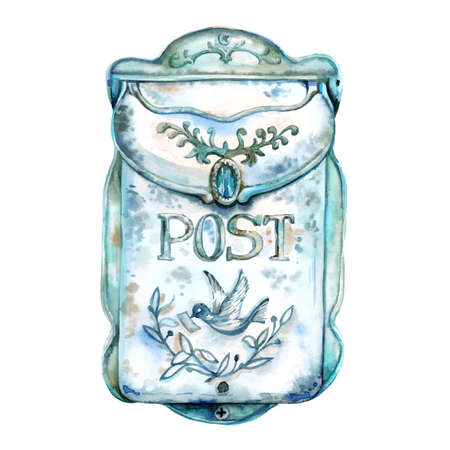 Vector watercolor hand painted blue mail box. Vintage metal rusty post box