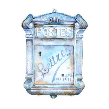 Vector watercolor hand painted blue mail box. Vintage metal rusty post box Illustration