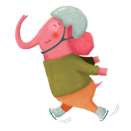 Hand drawn illustration of cartoon cute pink elephant ice skating in helmet on white background.