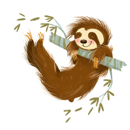 Hand drawn illustration of cartoon cute brown sloth swinging on branch of tree on white background. Stock Photo