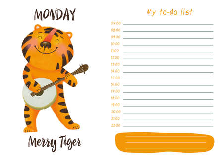 Daily planner with illustration of cute cartoon merry tiger. My day to-do list on Monday. Funny week.