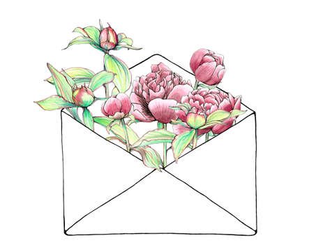 Hand painted and hand drawn vector vintage botanical watercolor illustration of peonies and buds in envelope for postcards, wedding invitations and greeting cards. Happiness held is seed, shared is flower Illustration