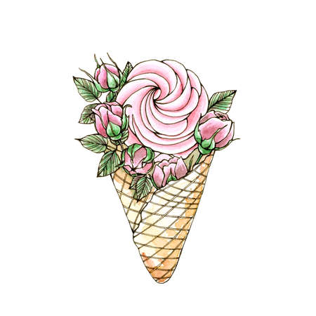 Hand painted and hand drawn watercolor and outline illustration of sweet dessert with pink roses flowers on white background. Ice cream, marshmallow with flowers