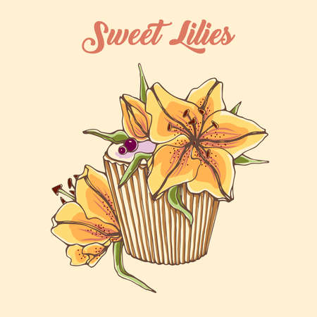 cupcakes isolated: Hand drawn vector illustration of sweet dessert with lilies flowers. Sweet lilies