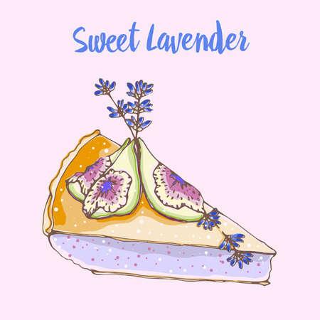 Illustration vectorielle dessinés à la main de gâteau dessert sucré avec des fleurs de lavande et de figues. Lavande douce