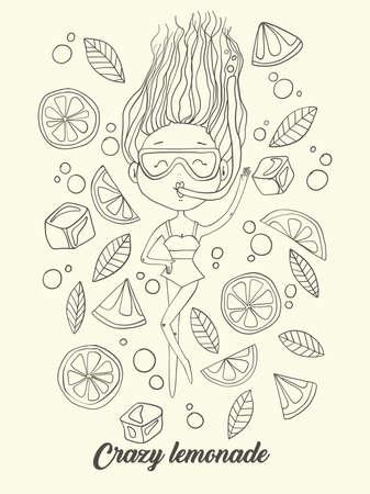 Dibujado A Mano Ilustración Vectorial De La Niña De Dibujos Animados ...