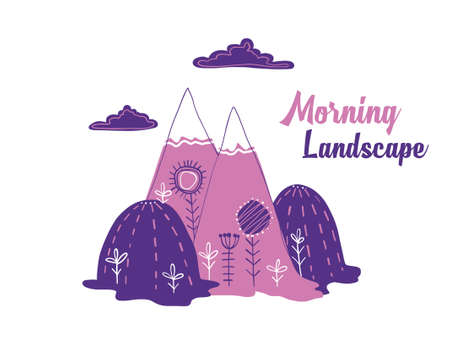 Illustration of lilac and purple landscape.