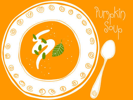 Illustration of a plate of pumpkin soup.