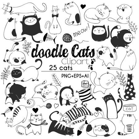 Hand drawn vector illustrations of Cats characters. Sketch style. Doodle  イラスト・ベクター素材