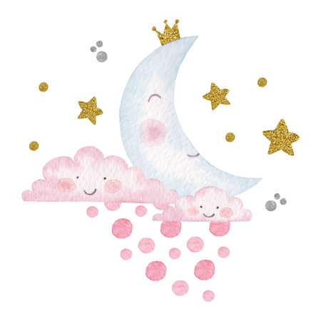 Hand drawn watercolor children illustration of moon, clouds and stars Illustration