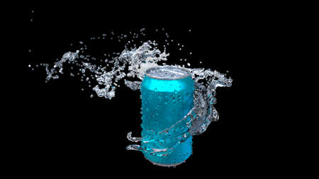 Clear water flows from an open iron can. Archivio Fotografico