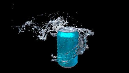 Clear water flows from an open iron can. Reklamní fotografie