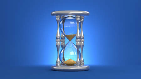 An hourglass on a blue background. Falling yellow sand. 3D-rendering.
