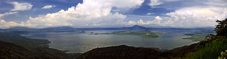 Panoramic view of Lake Taal with the world photo