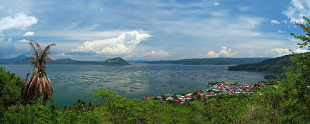 Panoramic view of Lake Taal, the caldera of a super volcano, with the world photo