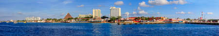 incidental people: Isla Cozumel, Mexico - January 14, 2015: Panorama of Cozumel coastline. Cozumel, also known as the Island of the Swallows, is an island in the Caribbean Sea off the eastern coast of Mexicos Yucatn Peninsula and is a popular destination for cruise ships. Editorial