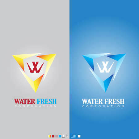 ci: W Water fresh symbol for corporation by vector Illustration