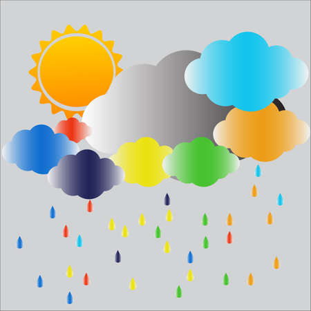 tranquil scene on urban scene: Storm cloud and rainRainbow vector background