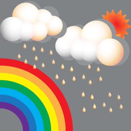 rainy season: Rainbow rainy season vector design