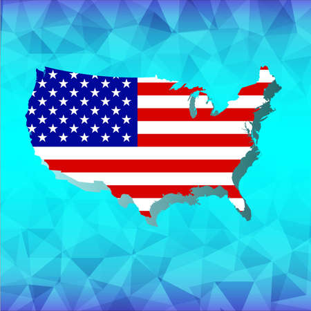 qualify: Independence Day on lowpoly blue background vector Illustration